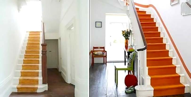 Oranžové potahy schodů